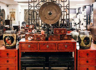 Red Lacquer Console and Bedsides | Javanese Gong