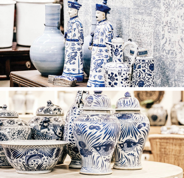 blue and white chinese porcelain jars and figurines