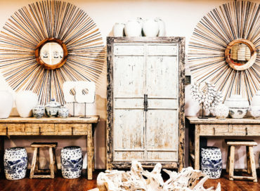 FIREWORK MIRROR | CHINESE CUPBOARD | BLUE & WHITE FISH STOOL