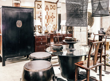 BLACK SHANXI CUPBOARD | DINING TABLE | BLACK LACQUER DRUM