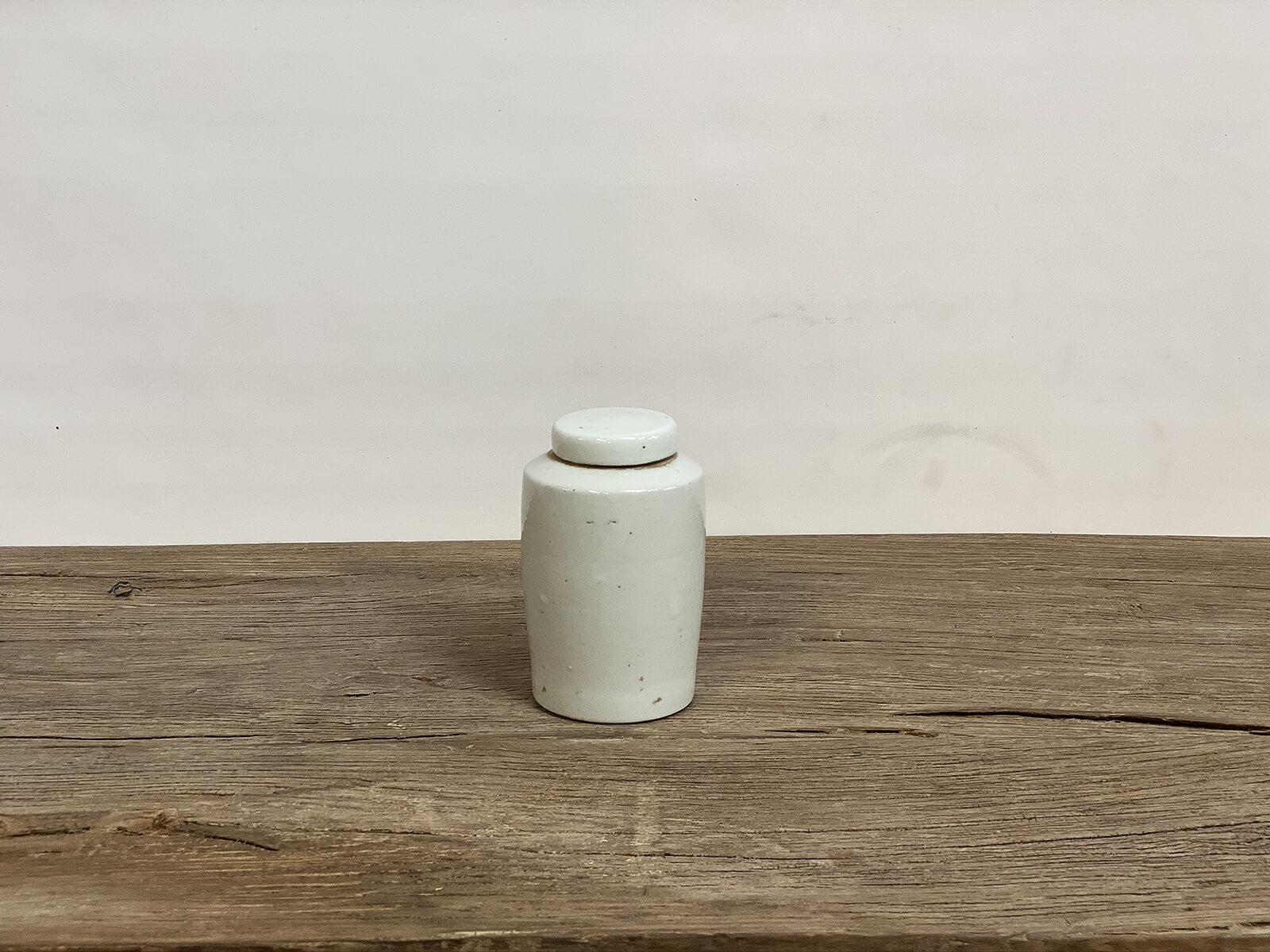White Cylinder Jar with Lid